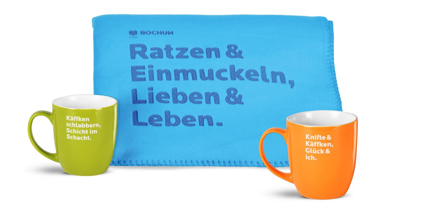 Marke-Merchandising-Tassen-und-Decke