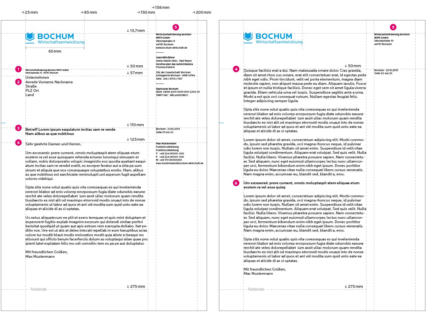 Bochum Wirtschaftsentwicklung Geschäftsausstattung Briefbögen