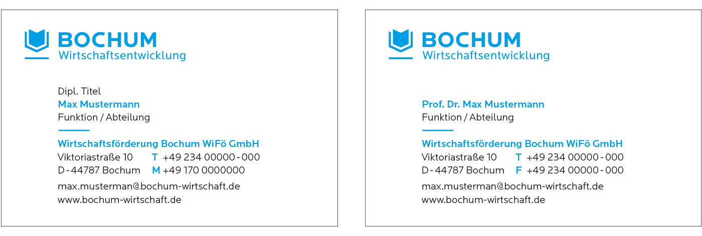 Bochum Wirtschaftsentwicklung Geschäftsausstattung Visitenkarten